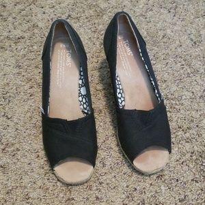 Toms Shoes Black Wedges Poshmark
